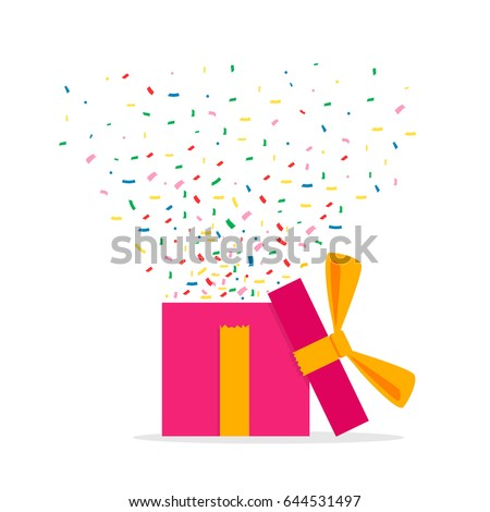 Opened Gift Box and Confetti. Surprise. Vector Illustration Isolated on White Background. #644531497