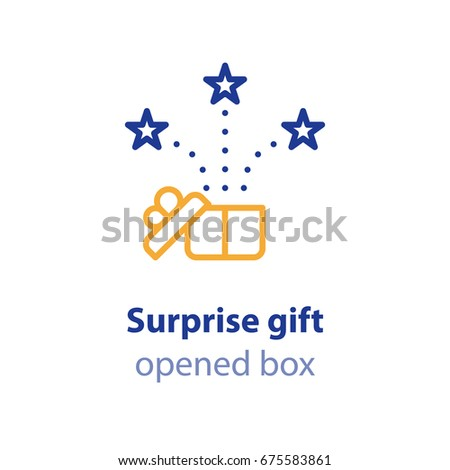 Opened gift box and fireworks, surprising present, unusual experience, special celebration, vector line icon