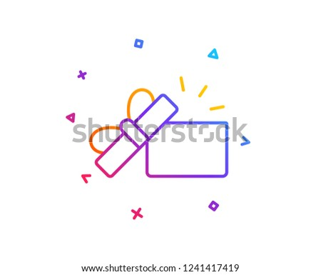 Opened Gift box line icon. Present or Sale sign. Birthday Shopping symbol. Package in Gift Wrap. Gradient line button. Opened Gift icon design. Colorful geometric shapes. Vector #1241417419
