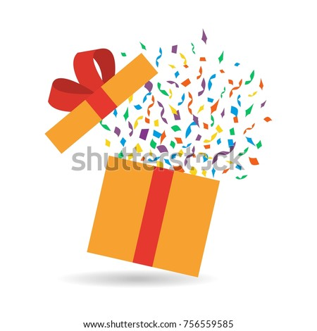 Opened gift box with confetti. Flat style. Present package with bursting elements, surprise inside. Template design for surprise, celebration event, presents, birthday, Christmas. Vector illustration