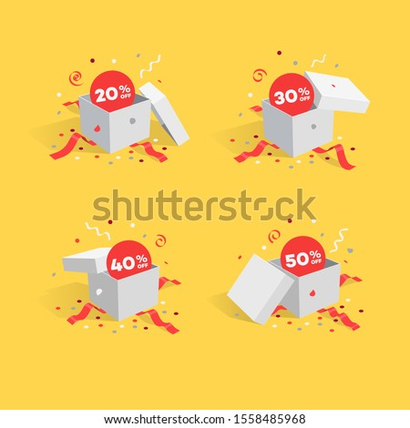 Opened gift boxes with discount symbols and confetti. Easy to use for your sale promotion.