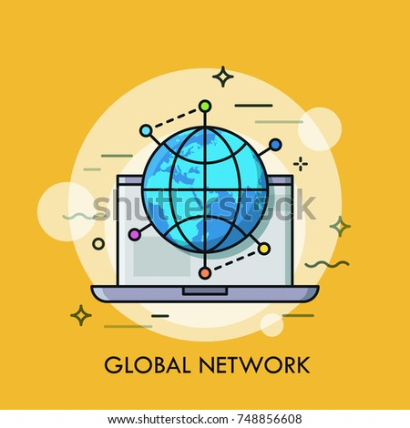 Opened laptop and globe surrounded by location marks. Concept of global networking, international cooperation. Modern vector illustration in flat style for web application, advertisement, website.