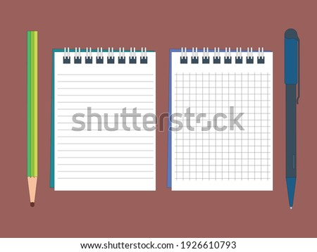 Opened notepad with pencil and pen in top view. Sketchbook or diary. Vector illustration Сток-фото ©