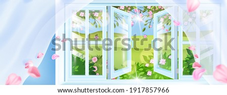 Opened plastic spring window vector background, petals, curtains, green hills, countryside view. Fresh rural air floral aroma breeze illustration, pink flowers, leaves. Opened window frame landscape Photo stock ©