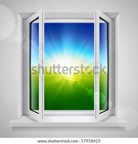 Opened plastic window with view of the green field