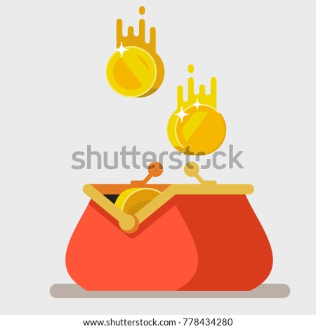 Opened purse with gold coins raining to open wallet. Vector