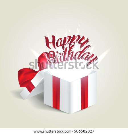 Opened realistic gift box with red bow and abstract light. Happy birthday. Vector illustration