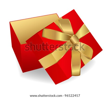 Opened Red Gift Box with golden ribbon. Vector illustration on white background