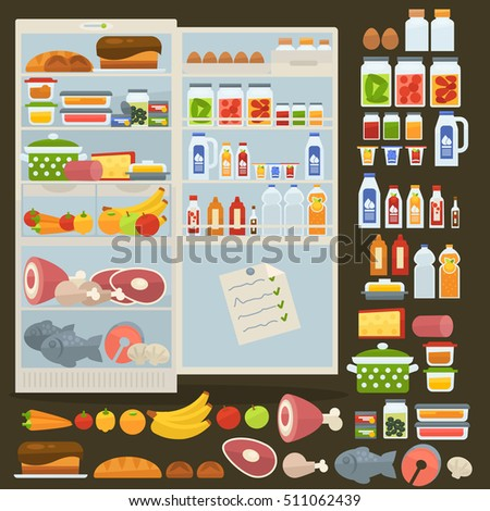 opened refrigerator and set of