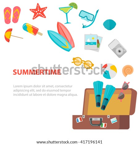 Opened suitcase with flying summer and travel icons set. Fun summertime concept with flip flops, surf, sunglasses, photos, drink, beach umbrella, starfish. Background Layout template.