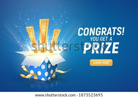 Opened textured blue box with exclamation signs explosion inside on a blue background. Winning gifts lottery vector illustration. Web banner with present