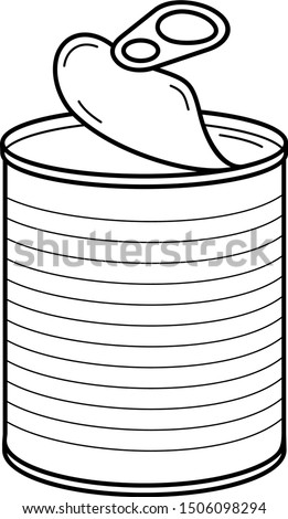 Opened tin can. Vector outline icon. Stock photo ©