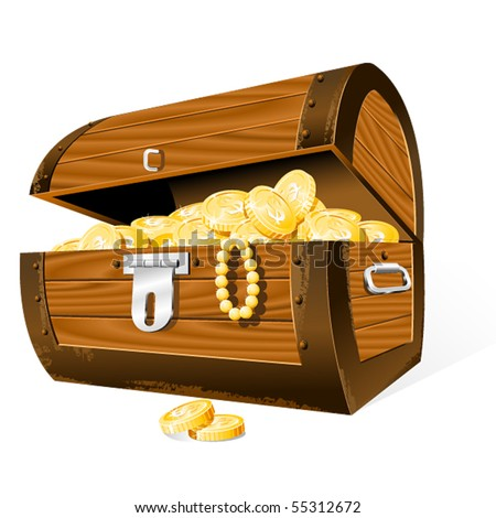 Opened Treasure Chest  isolated on the white