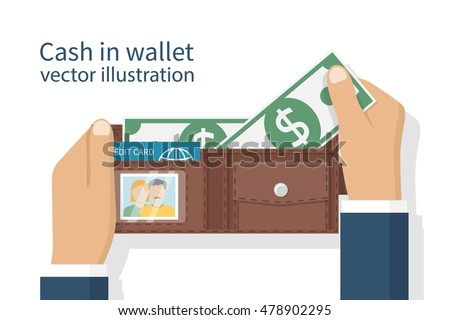 Opened wallet in man hands isolated on white background. Credit plastic card, cash. Vector illustration flat design. Taking money from purse. Cash payment.  Putting dollars.