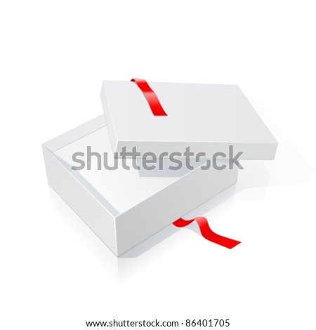 Opened white box with red ribbon isolated on white background