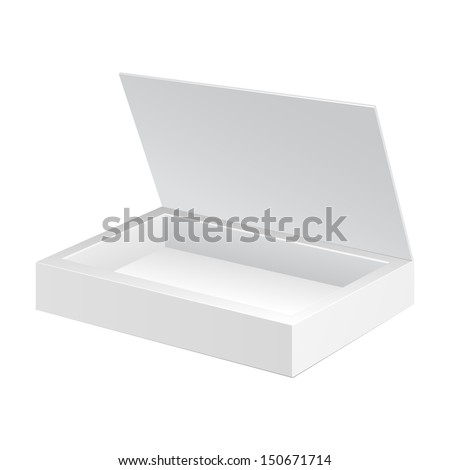 Opened White Cardboard Package Box. Gift Candy. On White Background Isolated. Ready For Your Design. Product Packing Vector EPS10