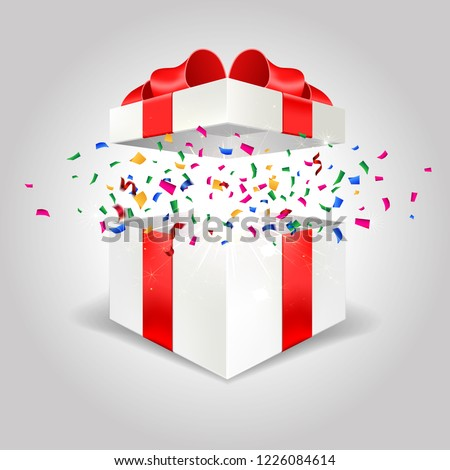Opened white gift box surprise win angle front view 3D with red bow and lights isolated in gray background easy to replace for your design and logo. Realistic blank Package gifts banner with confetti
