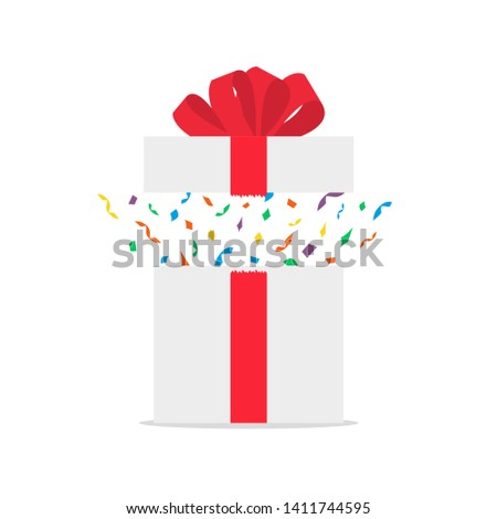 Opened white gift box with red bow and confetti. Present package with bursting elements, surprise inside. Template design for surprise, celebration event, presents, birthday, Christmas.
