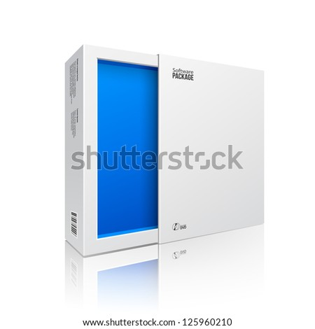 Opened White Modern Software Package Box Blue Inside For DVD, CD Disk Or Other Your Product EPS10