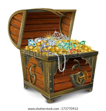 Opened wooden chest with treasures Сток-фото ©