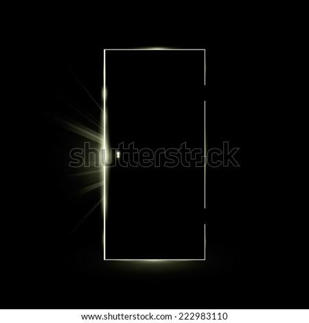 Opening black door in a dark room with shining light. Vector illustration.