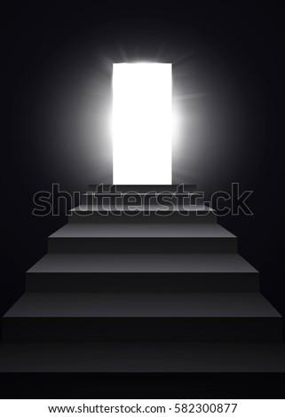 opening black door with shining
