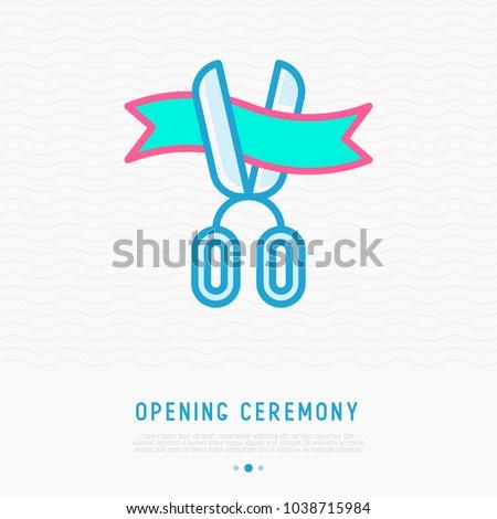 Opening ceremony symbol: scissors cutting ribbon thin line icon. Modern vector illustration.