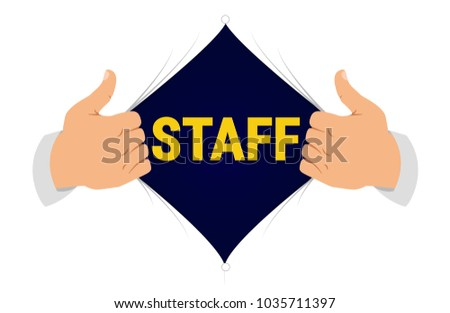 Opening shirt employee vector illustration. Man opens shirt to show employee T-shirt in flat cartoon style. Open shirt, protection, security, hidden protection concept, employees under cover.