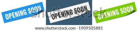 opening soon paper peeler sign set. opening soon sticker