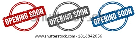opening soon round isolated label sign. opening soon stamp