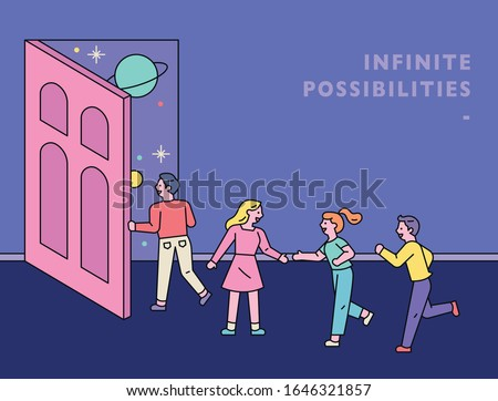 Opening the door, the universe unfolds outside the door. People venture out of the door. Fantasy Poster. flat design style minimal vector illustration.