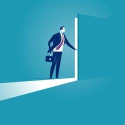 Opening the secret door. Business illustration