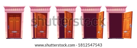 Opening wooden front door with stone frame isolated on white background. Vector cartoon set of house entrance, brown closed, ajar and open doors. Illustration for sprite animation or 2d game
