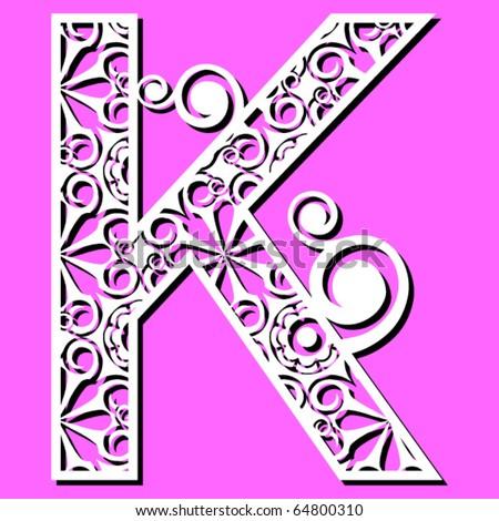 K Alphabet Letter openwork alphabet  letter K