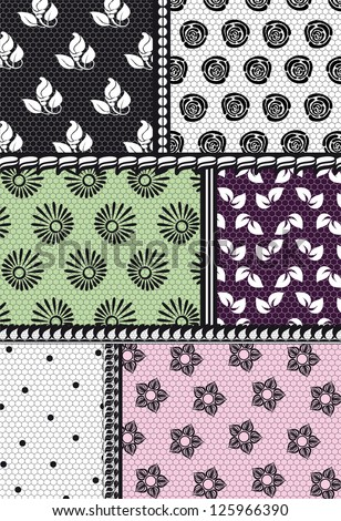 openwork textile, fabric with floral pattern #125966390