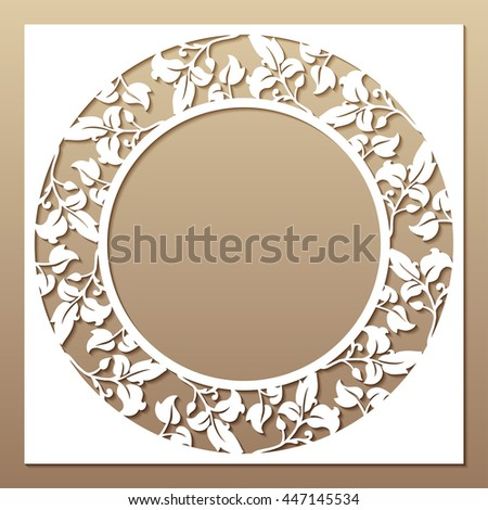 Openwork white frame with leaves. Laser cutting template for greeting cards, envelopes, wedding invitations, decorative elements.