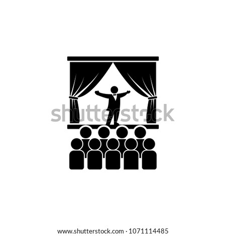 opera singer on stage icon. Element of theater and art illustration. Premium quality graphic design icon. Signs and symbols collection icon for websites, web design, mobile app on white background