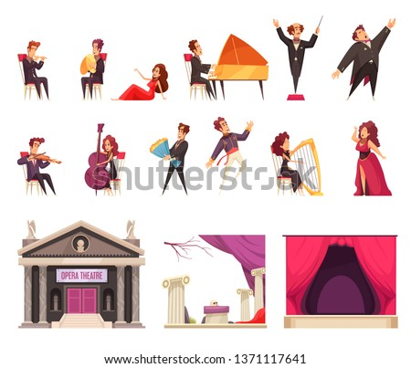 Opera theater flat cartoon elements set with performing musicians singers conductor stage curtain decorations building vector illustration
