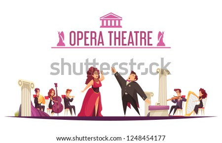 Opera theater premier announcement flat cartoon poster with 2 singers aria performance and musicians onstage vector illustration