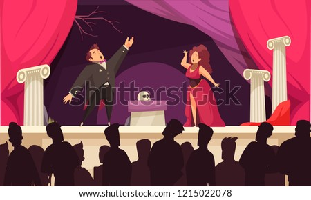 Opera theater scene flat cartoon poster with 2 singers aria onstage performance and audience silhouettes vector illustration