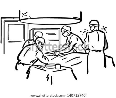 Operating Room - Retro Clip Art Illustration