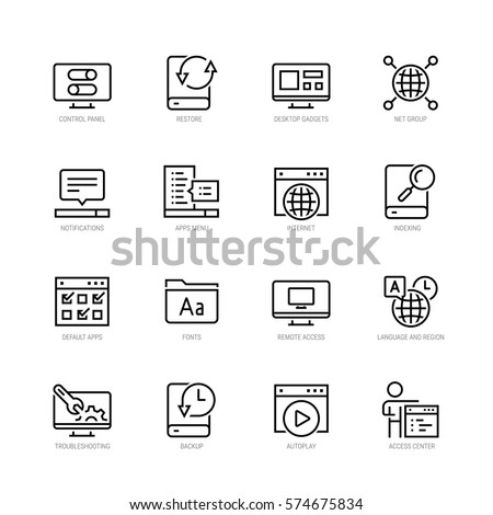 Operating system vector icon set in thin line style