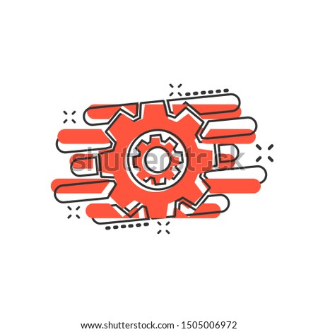 Operation project icon in comic style. Gear process vector cartoon illustration on white isolated background. Technology produce business concept splash effect.