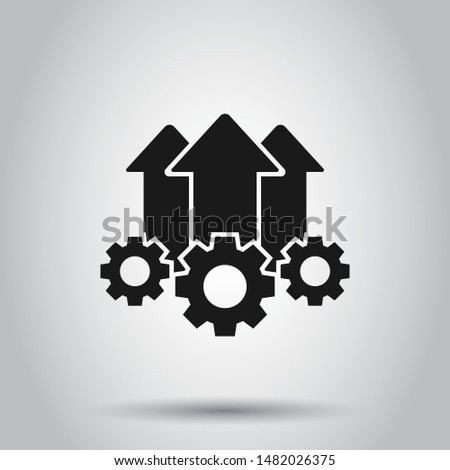 Operation project icon in flat style. Gear process vector illustration on isolated background. Technology produce business concept.