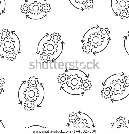 Operation project icon seamless pattern background. Gear process vector illustration on white isolated background. Technology produce business concept.