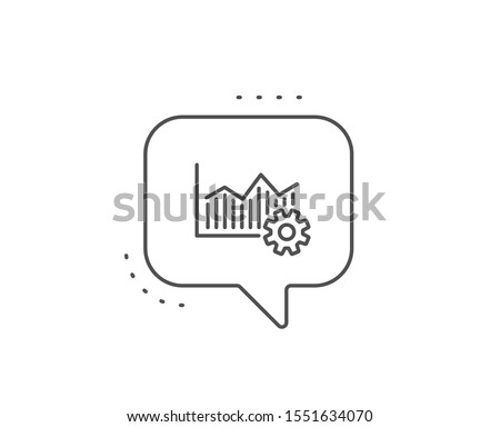 Operational excellence line icon. Chat bubble design. Cogwheel sign. Outline concept. Thin line operational excellence icon. Vector