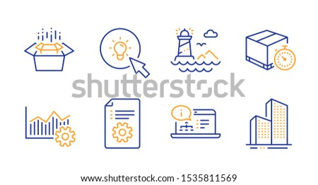 Operational excellence, Online documentation and Lighthouse line icons set. Technical documentation, Energy and Delivery timer signs. Packing boxes, Skyscraper buildings symbols. Vector