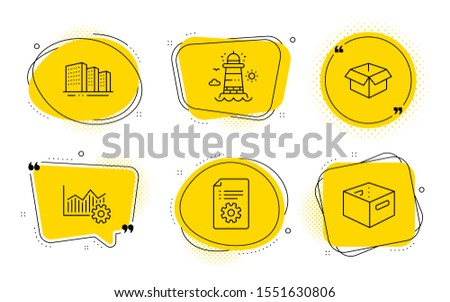 Operational excellence, Opened box and Office box signs. Chat bubbles. Buildings, Technical documentation and Lighthouse line icons set. City architecture, Manual, Beacon tower. Vector