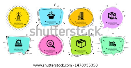 Operational excellence, Packing boxes and Search package line icons set. Chat bubbles with quotes. Buildings, Lighthouse and Energy signs. Parcel, Typewriter symbols. Vector