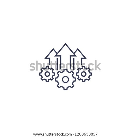 Operational excellence, production growth icon, line vector